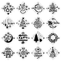 URlighting クリスマスステンシル 16枚 ブレットジャーナルステンシルテンプレートセット サンタクロース クリスマスツリー ジングリングベル スノーマンパターン カード用 木製DIY絵画 クラフトプロジェクト