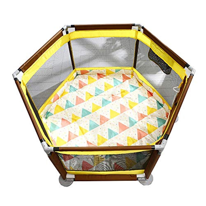 ベビーサークル ホーム幼児の遊び場室内の赤ちゃんの安全な遊びフェンスポータブルキッズゲーム遊び方マット付きの遊びペン (色 : イエロー いえろ゜)