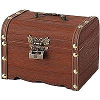 貯金箱 アンティークレトロ 木製 宝箱 鍵付き ジュエリーボックス 木箱 収納箱 ポータブルジュエリーボックス リング収…