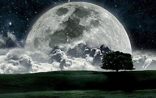 絵画風 壁紙ポスター (はがせるシール式) 月 ビッグムーン ズームアップ ...