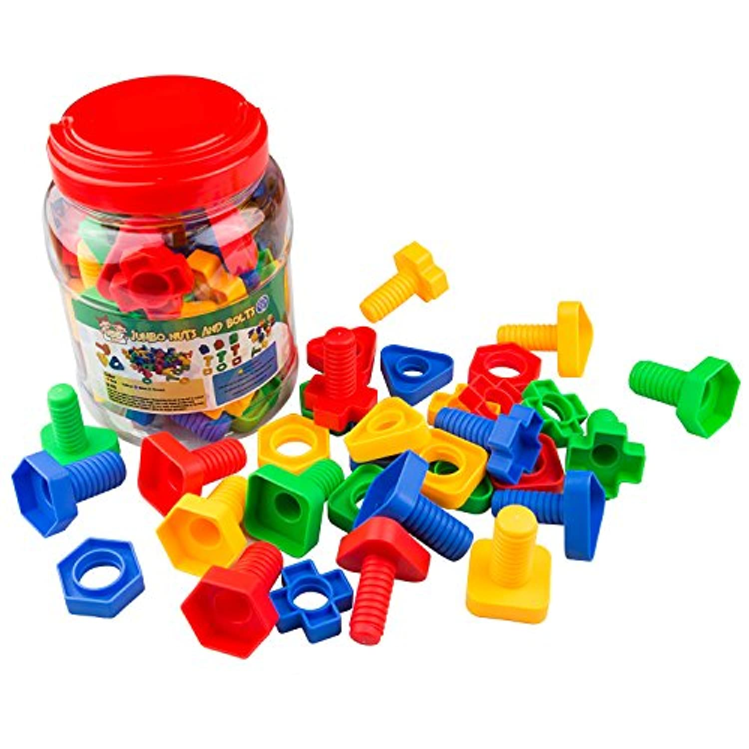 Jumbo Nuts & Bolts 32 pcs Sets - Stem Toys for Boys & Girls - Educational Toy for Baby & Toddler & 1 2 3 Year Olds Kids - Learning Colours & Shapes - Improving Matching & Motor Skills