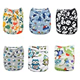 Alva Baby Pocket Washable Adjustable Reuseable Cloth Diapers Nappies 6PCS + 12 Inserts 6DM12-CA