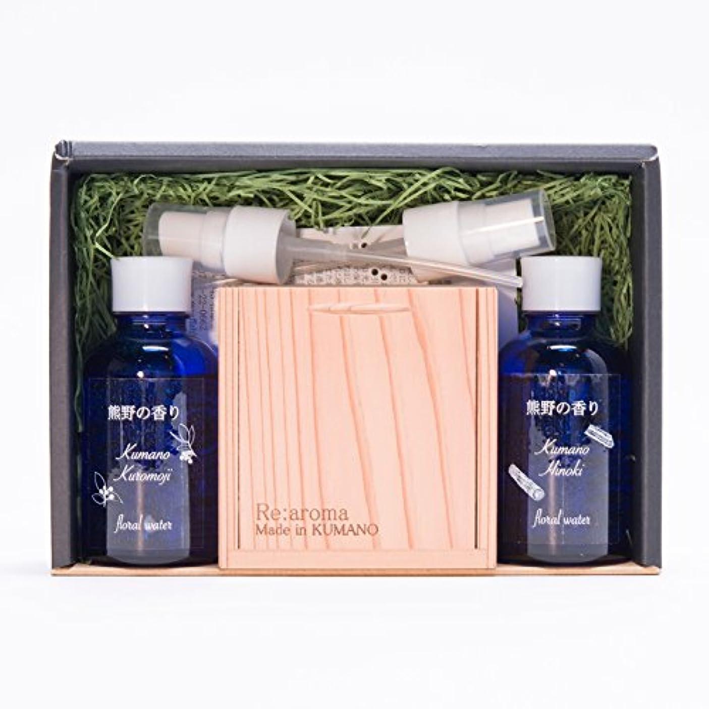 回路うるさい本当に熊野の香り アロマセット〔アロマオイル熊野杉(木箱入りクロモジ枝付)?フローラルウォーター2種〕