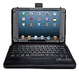 Fire 7 Bluetooth キーボード ケース【KuGi】 一体型 脱着式 良質PUレザーケース付き Fire タブレット など 7インチ-8インチ タブレット PC 対応 Bluetooth キーボードケース (Fire 7, ブラック)