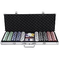 SD 500 pcsポーカーチップセットアルミニウムCarryケースカード、テキサス、ゲーム – Holdem Casino Poker