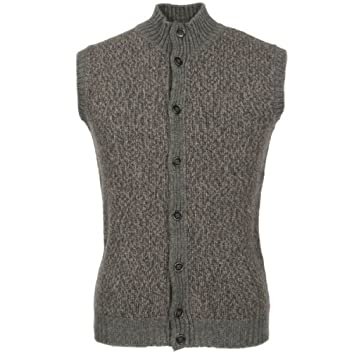 Wool Mock-neck Sweater Vest: Grey / Brown