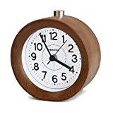 FiBiSonic 目覚まし時計 アナログ 大音量 置き時計 連続秒針 音無し アラーム スヌーズ 照明ライト付き 木製 電池式 小型 かわいい 丸型 S01(ブラウン)