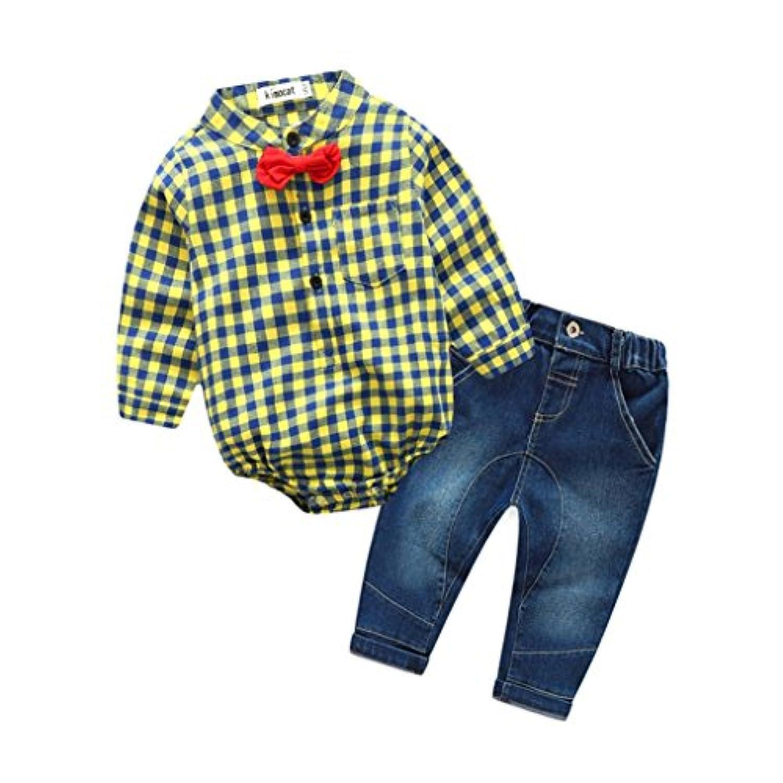 黄色 2点セット(ロンパース+ジ—ンズ) おしゃれ ベビー服 男の子 赤ちゃん服 幼児 子供服 男の子 長袖 4サイズ キッズ服 ロンパース カバーオール 満月/出産祝い/プレゼント70CM-80CM-90CM-100CM(0ヶ月-24ヶ月) (70CM/0-6ヶ月, 写真のように)
