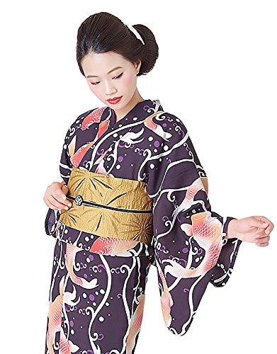 [ KIMONOMACHI ] オリジナル 浴衣単品「紫紺色 鯉」 TL