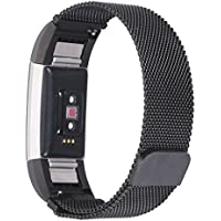 [New Tech][Never Fading] Marval.P Fitbit Charge 2 Bands for Women Men, Milanese Band, Stainless Steel Metal Loop Replacement Bracelet Strap, Wristbands with Magnetic Closure, Fashion Wrist Band
