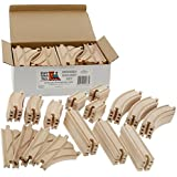 (1, CLASSIC) - 52 Piece Wooden Train Track Pack - 100 Compatible with All Major Brands