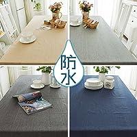 TUTUJIテーブルクロス 防水 コンプリートクロスシリーズ 無地 おしゃれなテーブル シンプルなデザイン! CANVAS (130 * 190cm, チャコール)