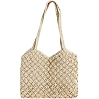 Queena Women Hollow Out Straw Handbag Summer Beach Sea Shoulder Bag Large Tote
