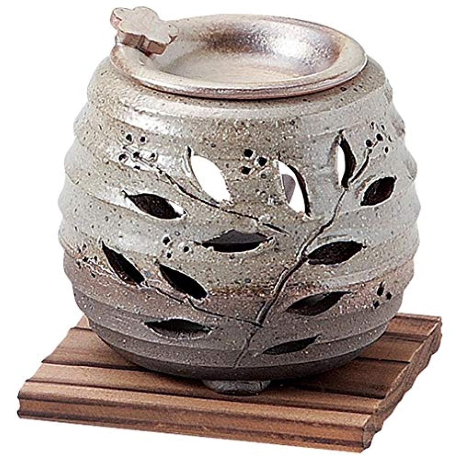 求人漂流追い払うお部屋の消臭に!■常滑焼【茶香炉】石龍作 緑灰釉花茶香炉(板付)