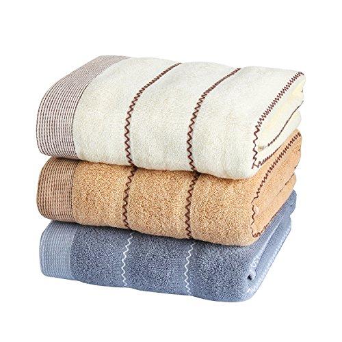 バスタオル 綿100% 厚手 大判 ボーダー やわらか 140*70cm 380g タオル 3枚セット