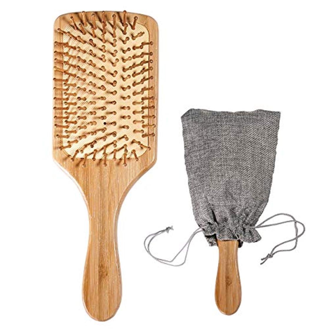 何かリップ砂の木製 竹ヘアブラシ(頭皮マッサージ 美髪ケア)ブラシクリーナー&巾着 付き