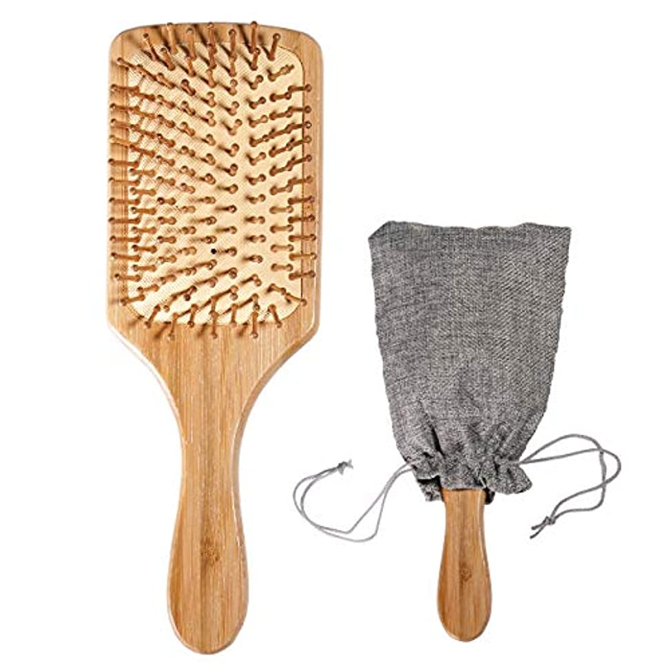 木製 竹ヘアブラシ(頭皮マッサージ 美髪ケア)ブラシクリーナー&巾着 付き