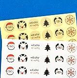 creve クリスマス ラッピング ラベル ギフト シール ステッカー 6種 96枚 3cm 30mm 円型 丸型 (ホワイト&クラフト2色セット)