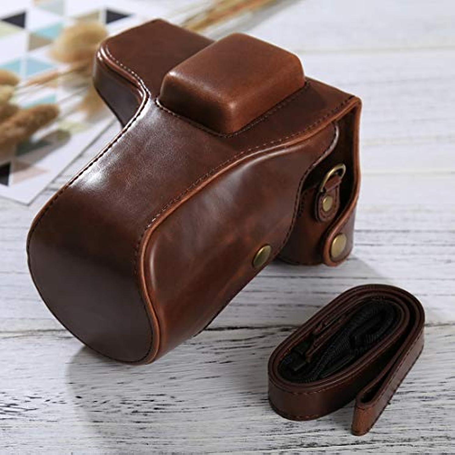 課す汚染名詞カメラバッグケース、フルボディカメラPUレザーケースバッグ、ストラップ付きSamsung NX300用(ブラック) (カラー:コーヒー)