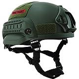OneTigris ミリタリーヘルメット MICH 2002 米軍レプリカ装備 サバゲー・作業用・山用など 多目的 軽量 マウントレール付き かっこいい ミリタリーグリーン