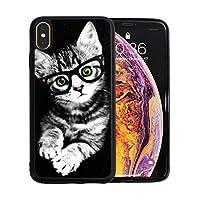 iPhone Xs Max ケース きのヒップスターの子猫 TPU 傷防止 レンズ保護 軽量 耐衝撃 ワイヤレス充電対応