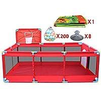 大きな屋内屋外の赤ちゃんPlaypen 10パネルバスケットボールのフープとボールマットセーフティボーイズガールズプレイセンターヤードポータブル折り畳み幼児ホーム活動エリアフェンス、赤 (色 : 200 Balls)