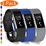 KingAcc Compatible Fitbit Charge 2 Bands, Soft Silicone Band for Fitbit Charge 2, Metal Buckle Fitness Wristband, 3-Pack Sport Strap for Women Men,(Black&DarkBlue&Gray,Small)