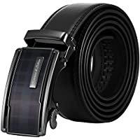 KS Men's Classic Dress Fashion Leather Sliding Buckle Ratchet Belt Black KB107
