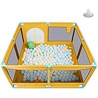 ベビーサークル, 玩具収納袋とゲート付きのポータブルプラスチック製ベビープレイペン、幼児用ノンスリップ8パネルプレイヤード - 128×128×66cm