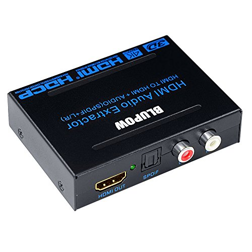 BLUPOW 4K×2K 2160P 3D HDMI 分離音声 ARC対応 HDMI入力→HDMI+SPDIF+RCA R/L出力(光デジタル/アナログステレオ出力)hdmi 音声分離器 hdmiサウンド分離器 hdmi分配器 hdmiデジタルオーディオ分離器 PS3/PS4/Blu-ray/HD DVD/TV BOX/Fire TV など対応(日本語取説PDF) -
