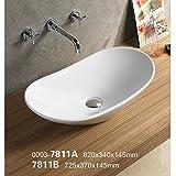 バスルーム長方形セラミック磁器Vessel洗面化粧台シンク7811a- ( Included Chrome Pop Up Drain Withオーバーフローなし)