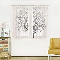 ロングカーテン 軽い薄い オシャレ UVカット 遮熱 洗える 省エネ ホワイト 幅150x丈100m 2枚入 アパートの装飾、葉のない古い枯れたオーククラウン木の枝の図、黒と白