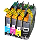 4-Pack Compatible Replacement for Brother LC233 LC-233 Inkjet Cartridge [1BK,1C,1M,1Y] For Brother DCP-J4120DW/J562DW, MFC-J4