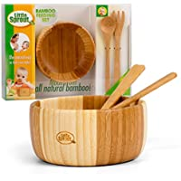 Bamboo Feeding Set 3pc includes Bowl, Spoon and Fork, BPA Free - Infant and Kid Friendly by Little Sprout