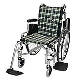 ケアテックジャパン 自走式 アルミ製 折りたたみ 車椅子 コンフォート CAH-50SU (チェックBB)