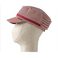 特殊衣料 no.2084 保護帽子アボネット abonet+JARI キャップストライプ フリーサイズ レッド