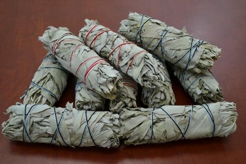 灰忠実ボンドホワイトセージバンドル スマッジインセンス 5インチ~6インチ + 1香炉