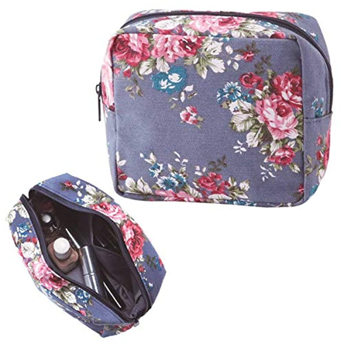 膨らみ講堂蒸し器レトロ感のあるローズ柄 花柄 化粧ポーチ コスメポーチ ボックス型ポーチ 小物入れ