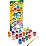 Crayola Kids Poster Paint, 18 Coloured Mini Pots of Washable Paint, Paint Brush Included, Vivid Colours, Great for Arts & Crafts, Posters and Projects!