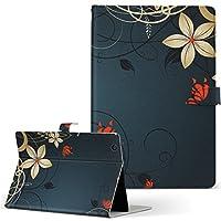Lenovo TAB 7 Essential レノボ タブレット 手帳型 タブレットケース タブレットカバー カバー レザー ケース 手帳タイプ フリップ ダイアリー 二つ折り フラワー 花 フラワー 青 ブルー 007575