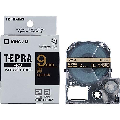テプラ PRO用テープカートリッジ カラーラベル パステル 黒 SC9KZ [金文字 9mm×8m]