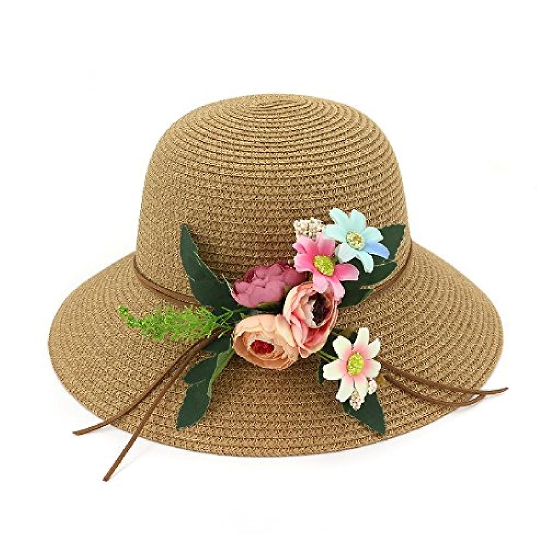 XZP 夏のストロー帽子、カジュアルなサットハットフラワーデコレーションのストローフローラルハット女性のためのサマービーチキャップ (色 : 黄)