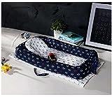 ベッドインベッド 添い寝ベッド おむつ換え ベビーベッド ベッドガード 枕付き (紺色)