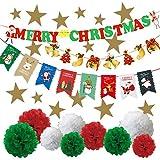 ミウォルナ クリスマス 7種類セット 飾り付け 飾り 装飾 壁飾り デコレーション 豪華 大容量セット ボンボンフラワー ガーランド オーナメント スター ツリー 星