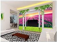 Bzbhart カスタム任意のサイズの壁画壁紙ローマ列花つるチューリップ風景家の装飾リビングルーム壁装-350cmx245cm
