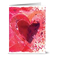 24 Valentine's Day Note Cards - Painted Heart - Blank Cards - Red Envelopes Included
