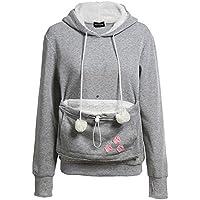 Tomsweet Women Cute Kangaroo Pet Holder Cat Eared Pouch Long Sleeve Pullover Sweatshirt Pocket Hoodie