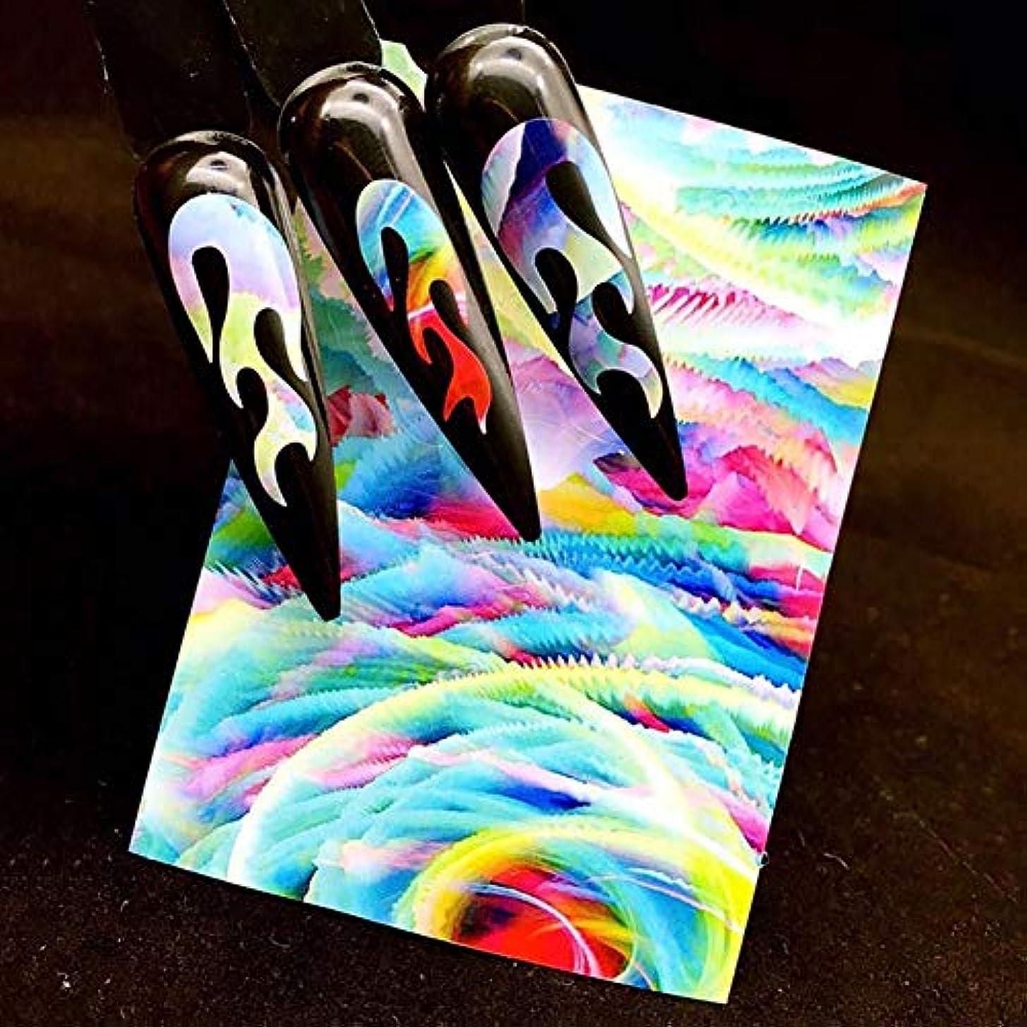 印象的不明瞭マイナスMurakush ネイルステッカー レーザー接着 ステッカー 炎パターン オーロラ マニキュア装飾 ネイルアート デカールツール 2#