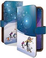 AQUOS R compact ケース 手帳型 ペンギン 青 雪 冬 スマホケース アクオスアール コンパクト 手帳 カバー aquosRcompact アクオスRコンパクトケース アクオスRコンパクトカバー 結晶 氷 雪国 オーロラ ペンギン [ペンギン 青/t0628a]