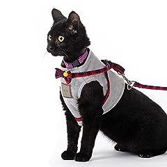JPC ペット用 ハーネス 胴輪 牽引ロープ ハーネス 胸あて式 猫用 犬用 リード 軽量 脱着簡単 吸汗速乾 洋服 蝶結び 散歩 外出 イギリス風 Sサイズ